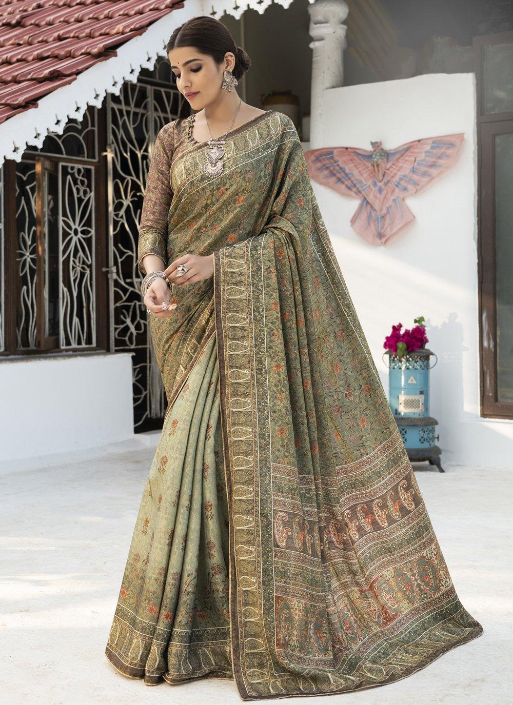 Green Digital Print Silk Traditional Saree