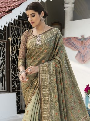 Green Digital Print Silk Traditional Saree