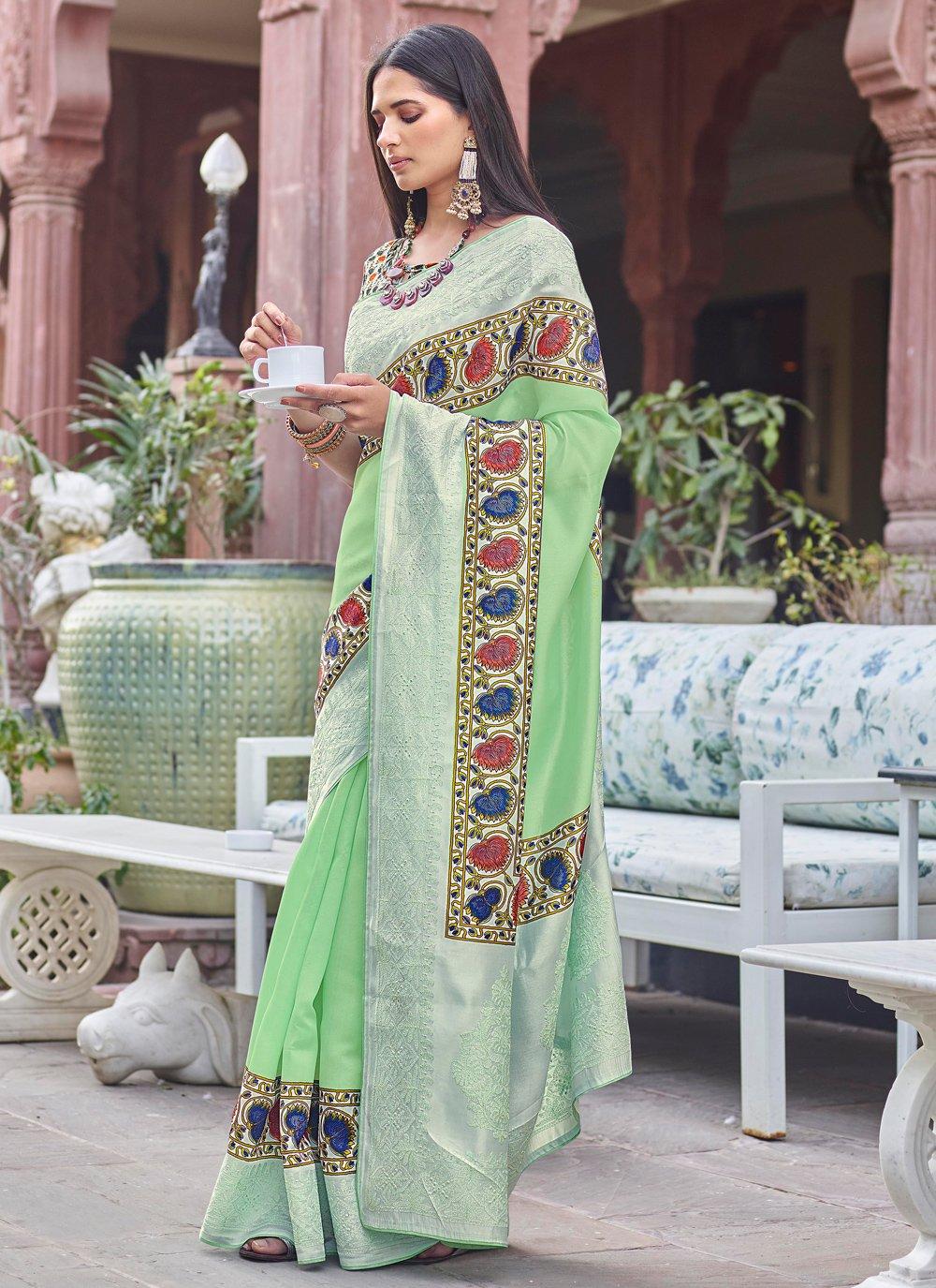 Green Digital Print Traditional Designer Saree