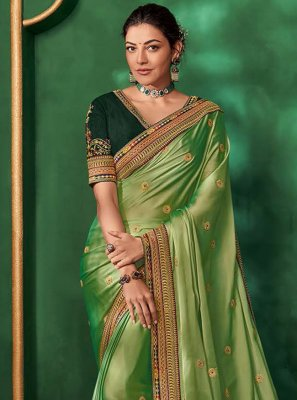 Green Embroidered Art Silk Bollywood Saree