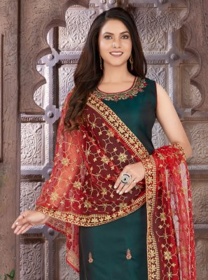 Green Embroidered Art Silk Readymade Suit