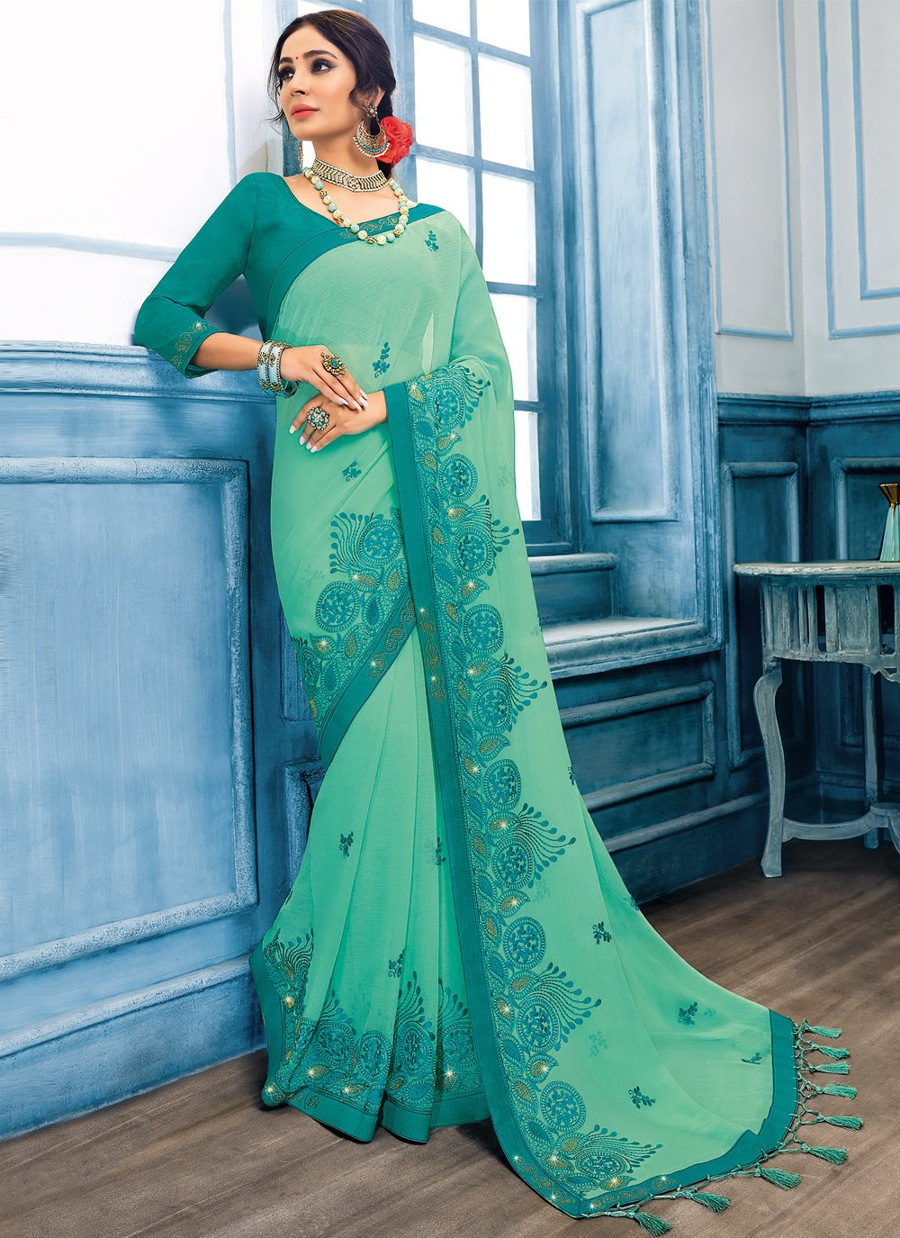 Green Embroidered Ceremonial Classic Designer Saree