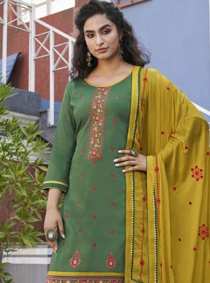 Green Embroidered Ceremonial Designer Patiala Suit