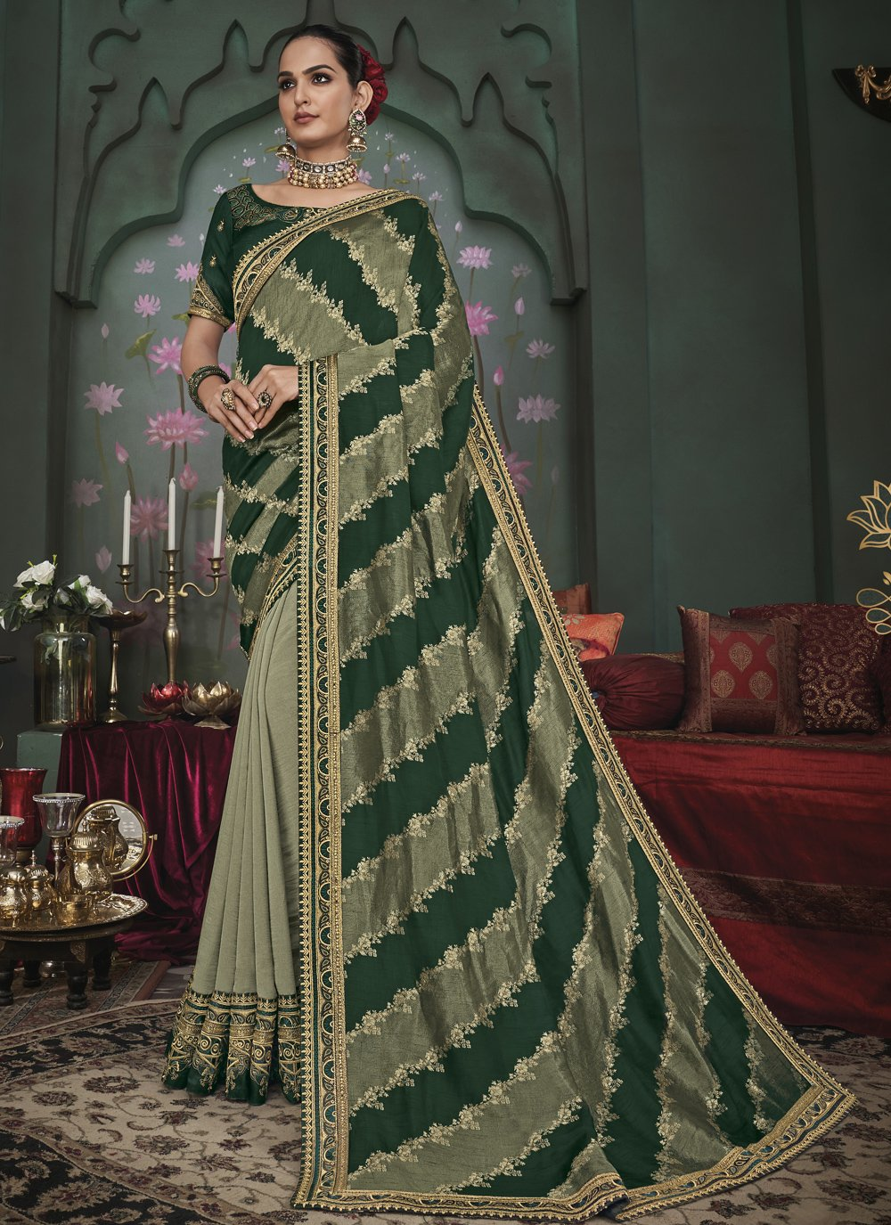 Green Embroidered Ceremonial Half N Half  Saree