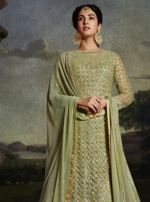 Green Embroidered Ceremonial Palazzo Designer Suit