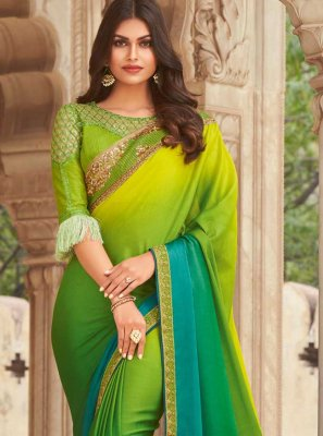 Green Embroidered Ceremonial Shaded Saree