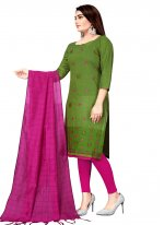 Green Embroidered Churidar Suit