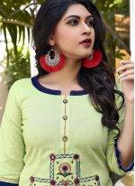 Green Embroidered Cotton Designer Kurti