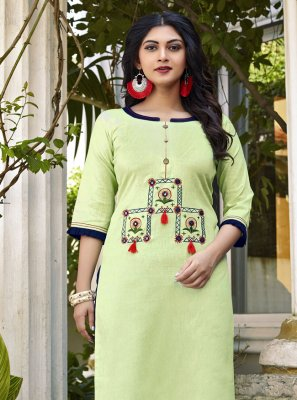 Green Embroidered Cotton Designer Kurti