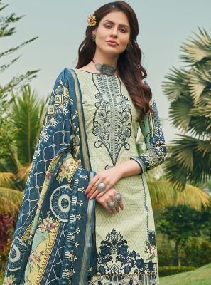 Green Embroidered Cotton Designer Palazzo Salwar Suit