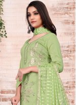 Green Embroidered Cotton Pant Style Suit