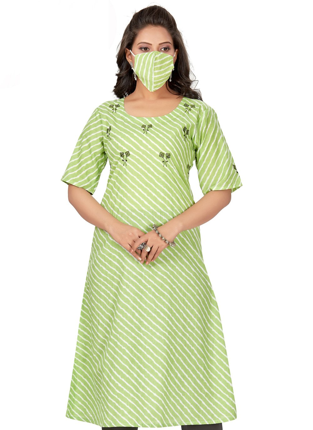 Green Embroidered Cotton Party Wear Kurti