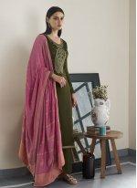 Green Embroidered Designer Pakistani Suit