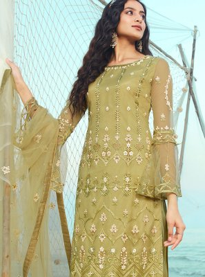 Green Embroidered Designer Palazzo Suit