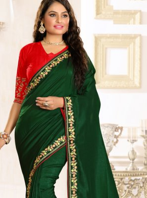 Green Embroidered Engagement Classic Saree