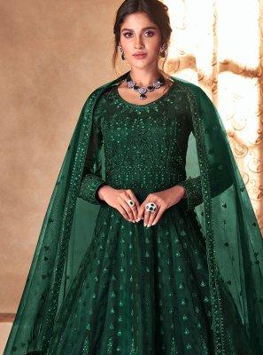 Green Embroidered Engagement Designer Salwar Kameez