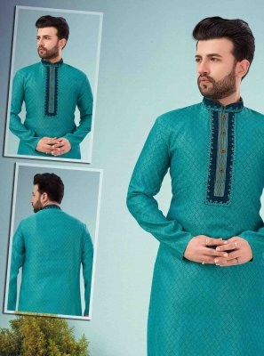 Green Embroidered Engagement Kurta Pyjama
