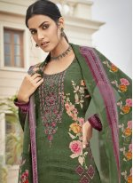 Green Embroidered Faux Crepe Designer Palazzo Salwar Suit