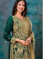 Green Embroidered Faux Georgette Bollywood Salwar Kameez