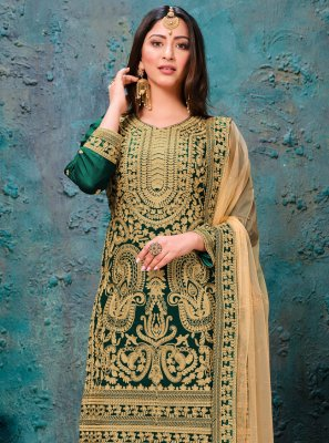 Green Embroidered Faux Georgette Bollywood Salwar Kameez