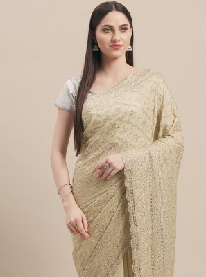 Green Embroidered Faux Georgette Classic Saree