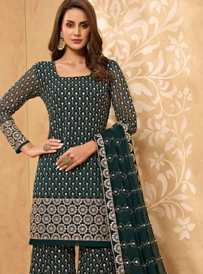Green Embroidered Faux Georgette Designer Palazzo Suit