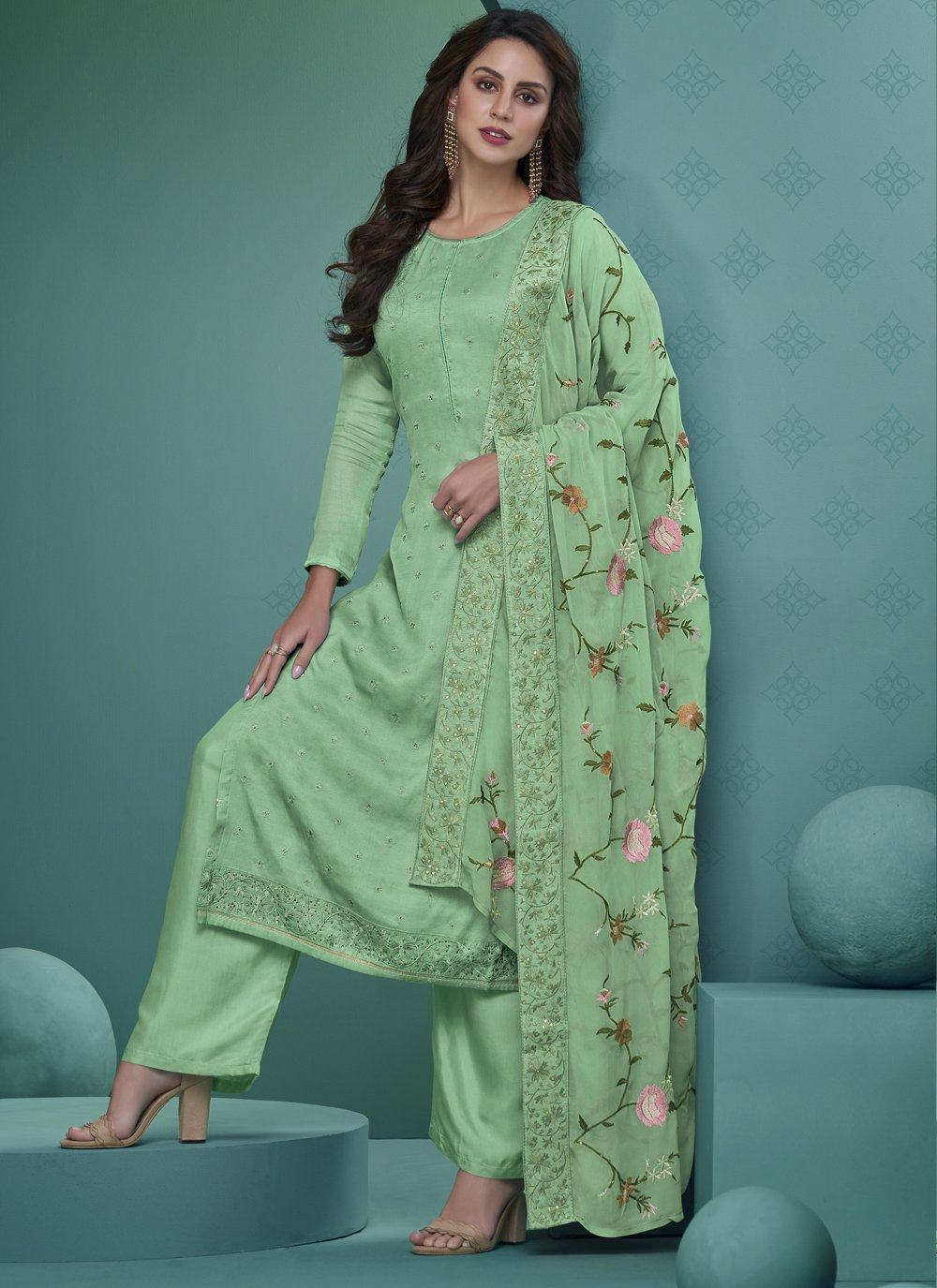 Green Embroidered Faux Georgette Readymade Suit
