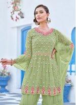 Green Embroidered Festival Bollywood Salwar Kameez