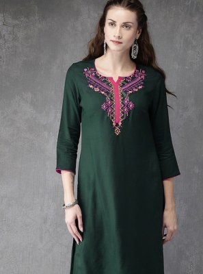 Green Embroidered Festival Designer Kurti
