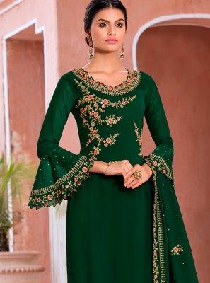 Green Embroidered Georgette Salwar Kameez