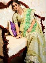 Green Embroidered Linen Contemporary Saree
