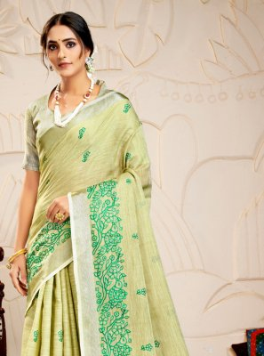 Green Embroidered Linen Contemporary Saree