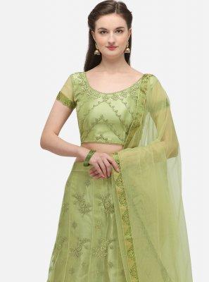 Green Embroidered Net A Line Lehenga Choli