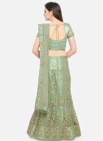 Green Embroidered Net Lehenga Choli