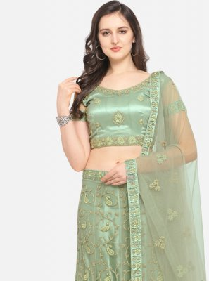 Green Embroidered Net Lehenga Choli