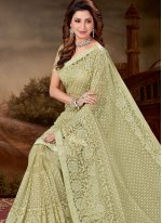 Green Embroidered Net Trendy Saree