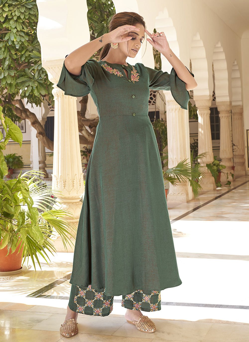 Green Embroidered Rayon Party Wear Kurti