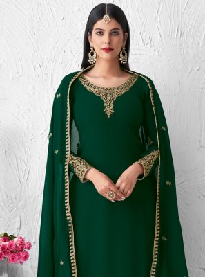 Green Embroidered Sangeet Designer Palazzo Suit