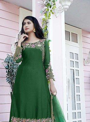 Green Embroidered Satin Designer Pakistani Salwar Suit