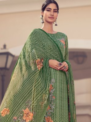 Green Embroidered Satin Designer Palazzo Suit