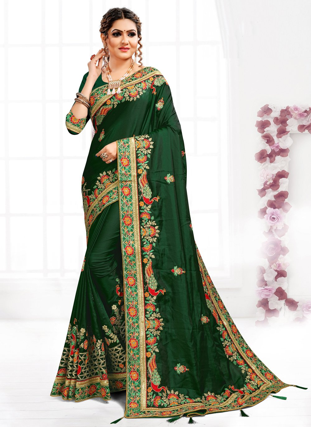 Green Embroidered Satin Designer Traditional Saree