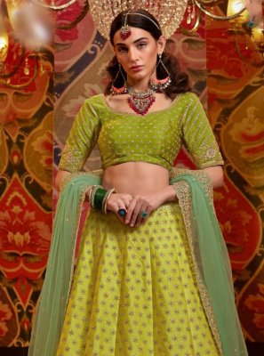 Green Embroidered Satin Silk Lehenga Choli