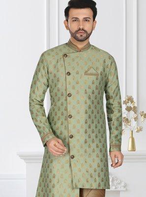 Green Embroidered Silk Indo Western