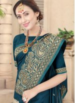 Green Embroidered Silk Traditional Designer Saree
