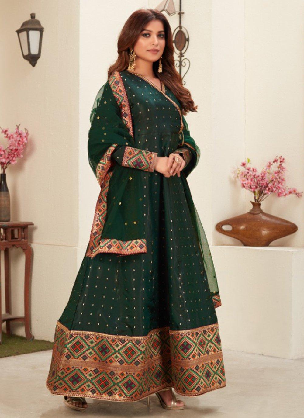 Green Embroidered Tafeta Silk Floor Length Anarkali Suit