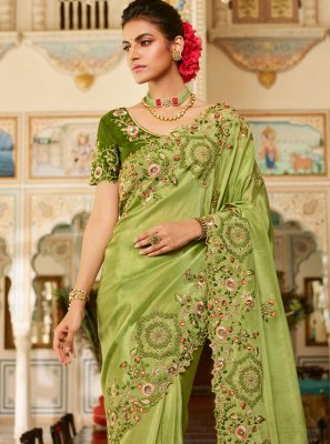 Green Embroidered Traditional Designer Saree