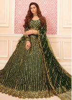 Green Embroidered Trendy Lehenga Choli