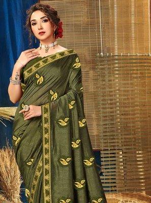 Green Embroidered Vichitra Silk Classic Saree