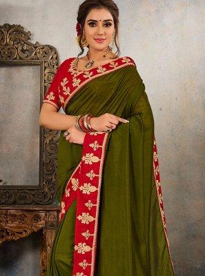 Green Embroidered Vichitra Silk Traditional Saree