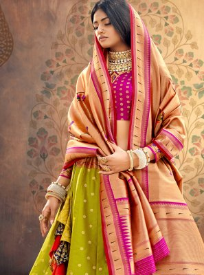 Green Engagement A Line Lehenga Choli